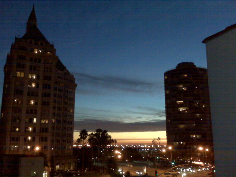 i took this picture from the roof of my apartment building. This a pretty similar view from my window...home sweet home California.