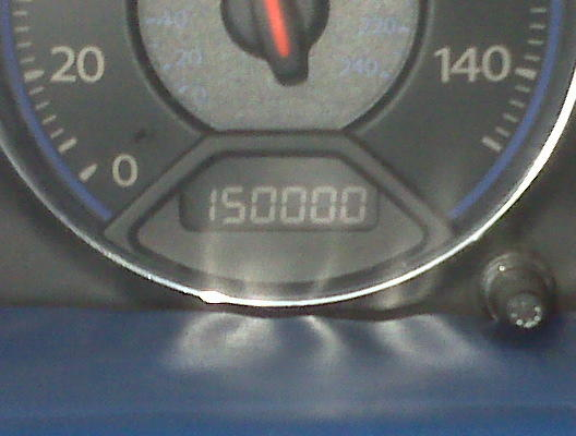 This is what I mean. 150,000 miles was a milestone so I took a pic. I got my car in August of 2005 with 6 miles on it. This picture was taken almost a year ago. I am at 168,000 something now.