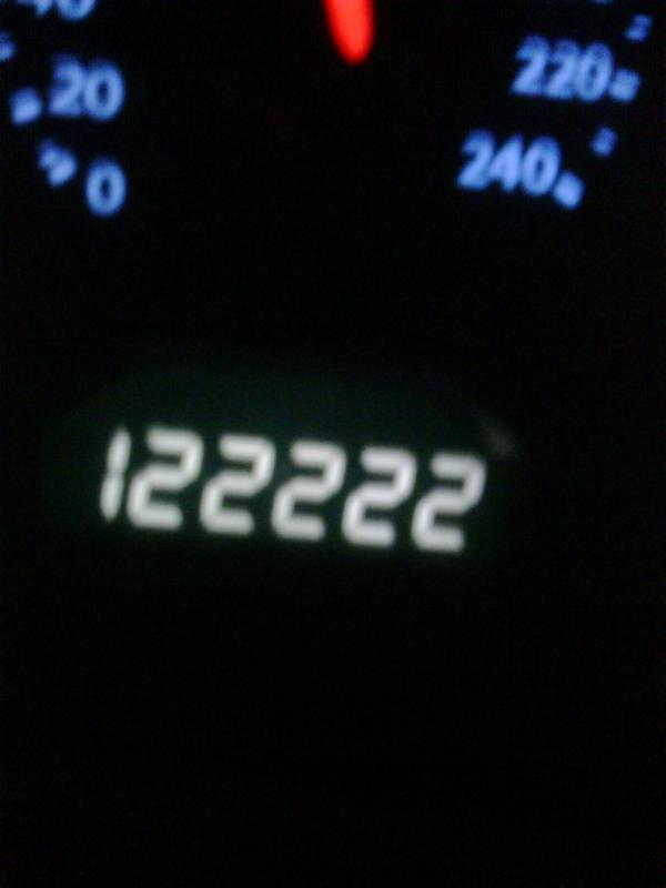 This one wasn't too crazy, just the miles on my car. Had to look at 222 for 100 miles.